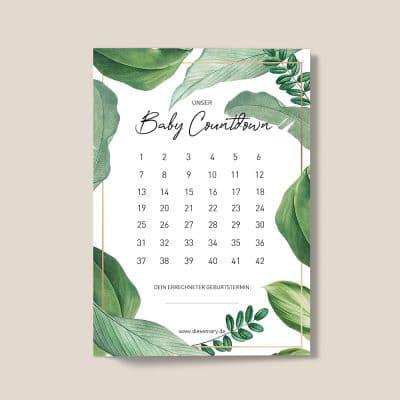 Uni-Baby-Countdown-Jungle-Monstera-DieseMary-Design-Notizen-Grafik-Shop-Baby-Pregnancy-Schwangerschaft-pregnant